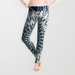 Indigo Navy White Mandala Design Leggings