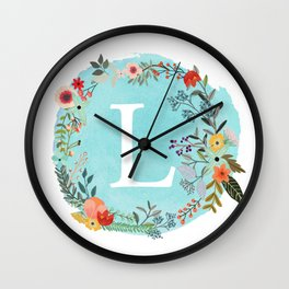 Personalized Monogram Initial Letter L Blue Watercolor Flower Wreath Artwork Wall Clock