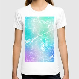 Modern turquoise purple watercolor abstract marble T-shirt