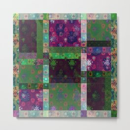 Lotus flower green and maroon stitched patchwork - woodblock print style pattern Metal Print