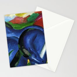 Large Blue Horses pastoral nature landscape painting by Franz Marc Stationery Cards