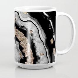 Gray Black White Agate with Gold Glitter on Black #1 #gem #decor #art #society6 Coffee Mug