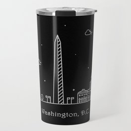 Washington D.C. Minimal Nightscape / Skyline Drawing Travel Mug