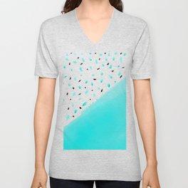 Bright teal blue color block acrylic polka dots pattern Unisex V-Neck