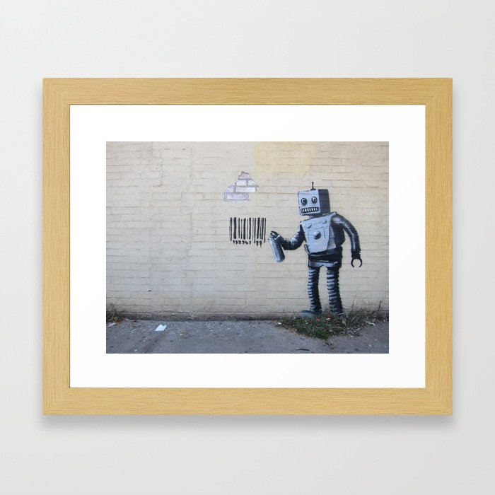 Banksy Robot (Coney Island, NYC) Framed Art Print