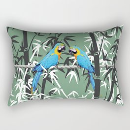 Bambus Leaves and blue macaw Rectangular Pillow