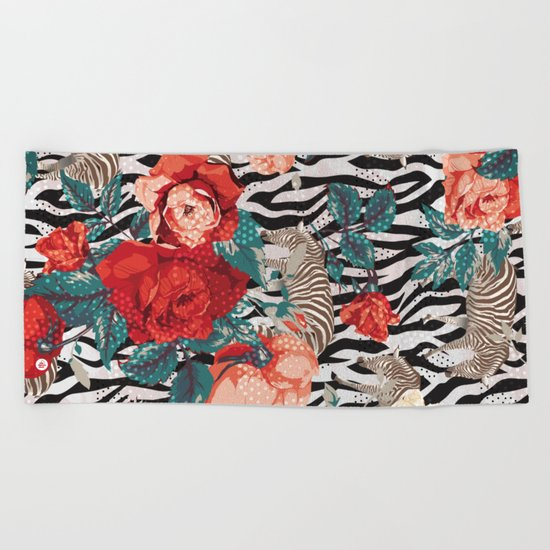 Pattern flowers-animals Beach Towel