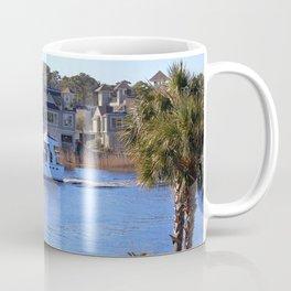 Palm Tree Boat Framed Coffee Mug