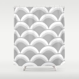 Japanese Fish Scales Gray Shower Curtain