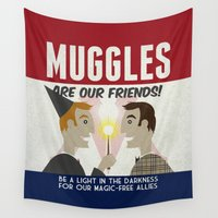 propaganda Wall Tapestries featuring Muggles Are Our Friends (HP Propaganda Series) by Kate Moore