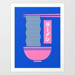 Ramen Japanese Food Noodle Bowl Chopsticks - Blue Kunstdrucke