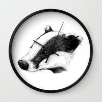 badger Wall Clocks featuring Badger by Sam Chelton. London based illustrator.