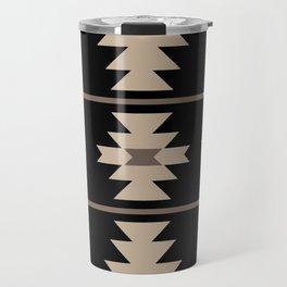 Southwestern Pattern 132 Black and Beige Travel Mug