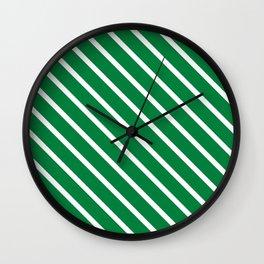 Emerald Diagonal Stripes Wall Clock