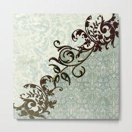 Soft green vintage  art Metal Print