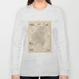 Vintage Map of Belfast Ireland (1851) Long Sleeve T-shirt