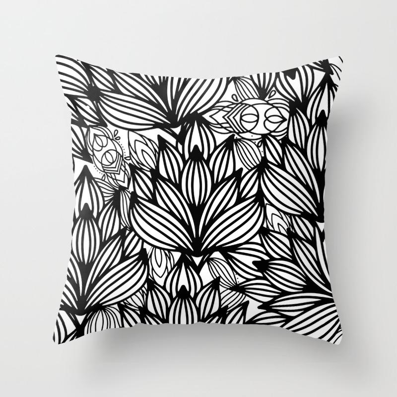 Modern Hand Drawn Black White Watercolor Floral Throw Pillow
