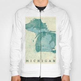 Michigan State Map Blue Vintage Hoody
