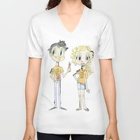 percy jackson V-neck T-shirts featuring Percy Jackson and Annabeth Chase by Trillatia