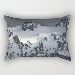 Snowy winter peak of mountains Rectangular Pillow