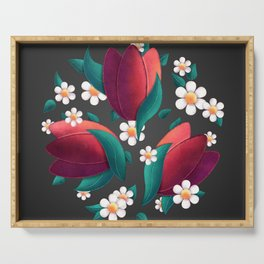 Bouquet (Tulipes et Marguerittes) Noir Serving Tray