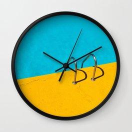 yellow blue pool Wall Clock