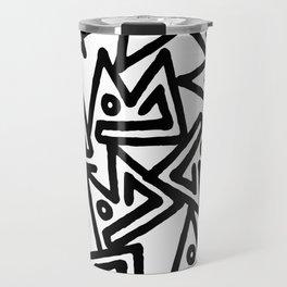 Abstract hand painted black white geometrical pattern Travel Mug