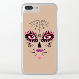 Pink floral sugar skull Clear iPhone Case