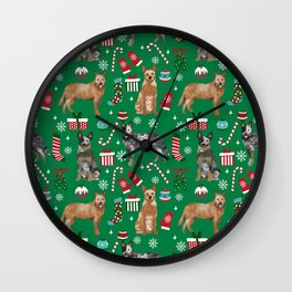 Austrian Cattle Dog red and blue merle christmas presents holiday dog breed pattern pet friendly Wall Clock