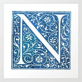Letter N Antique Floral Letterpress Art Print