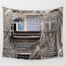 Antique Building's Facade with Scaffolding Wall Tapestry