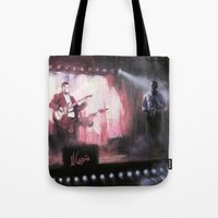 theatre Tote Bags featuring Lotus Theatre by Miquel Cazanya