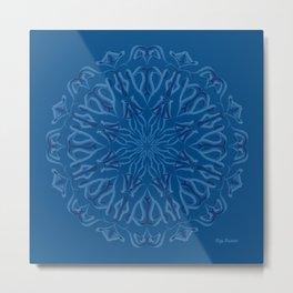 Blue Shield Mandala Mode Metal Print