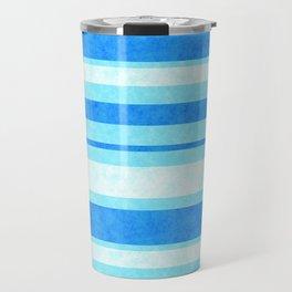 Bright Blue Grunge Stripes Texture Travel Mug