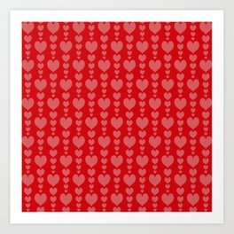 Red Background with Pink Hearts Valentines Day Love Art Print