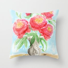 Peonies in Vase Throw Pillow