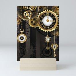 Antique Clock with Keys ( Steampunk ) Mini Art Print