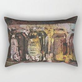 Fine art watercolor batik painting of honey jars at Farmers Market- Raleigh, North Carolina Rectangular Pillow