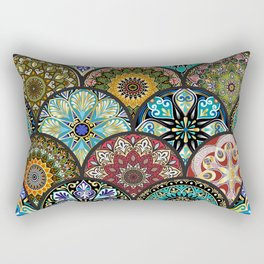 Colorful floral seamless pattern from circles with mandala in patchwork boho chic style Rectangular Pillow