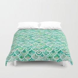 VENUS DE MER Green + Blush Mermaid Scales Duvet Cover