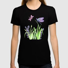 Dragonfly in pink and purple T-shirt