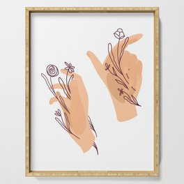 Hands and herbs Serving Tray