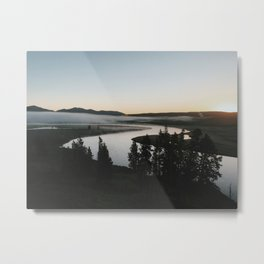 Sunrise, Hayden Valley River, Yellowstone National Park, Wyoming Metal Print