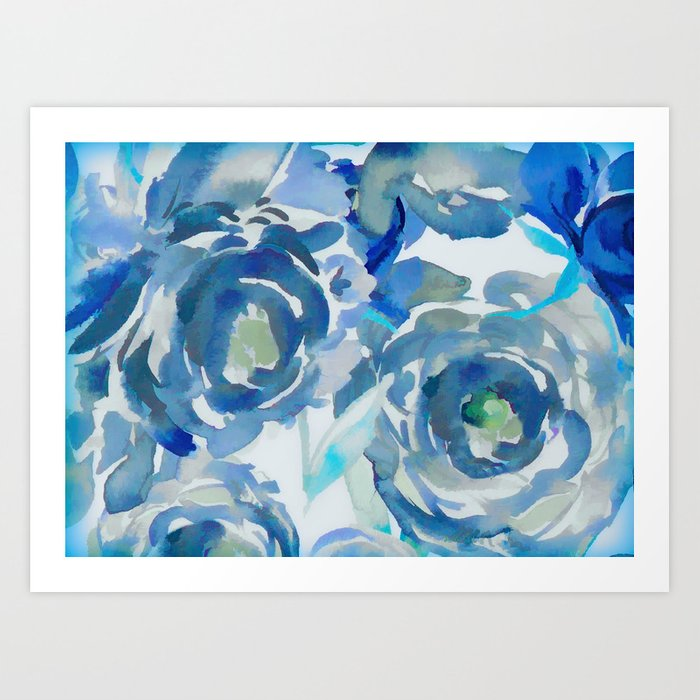 Sky Blue Painterly Floral Abstract Art Print