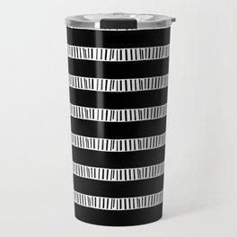 BLUNT simple black and white rows mudcloth design Travel Mug