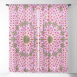 Pink and Green Alien Mandala Pattern Sheer Curtain
