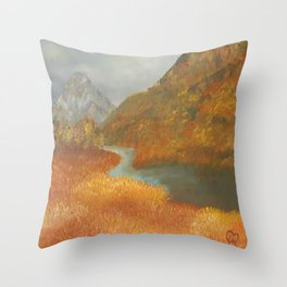 Glen Etive, wildness, landscape, oil painting by Luna Smith aka Lu Throw Pillow