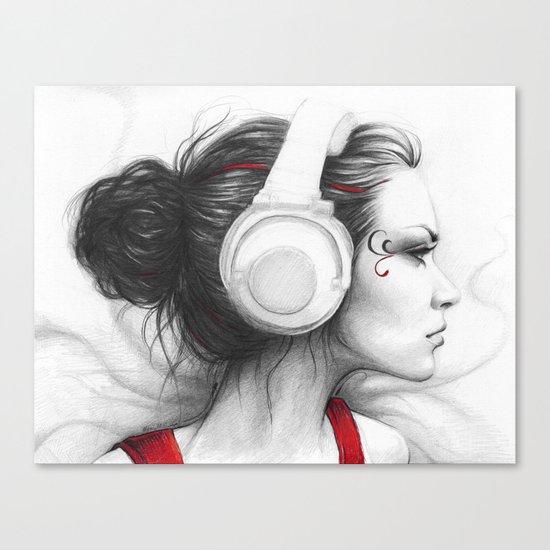I Love Music   Girl in Headphones Canvas Print