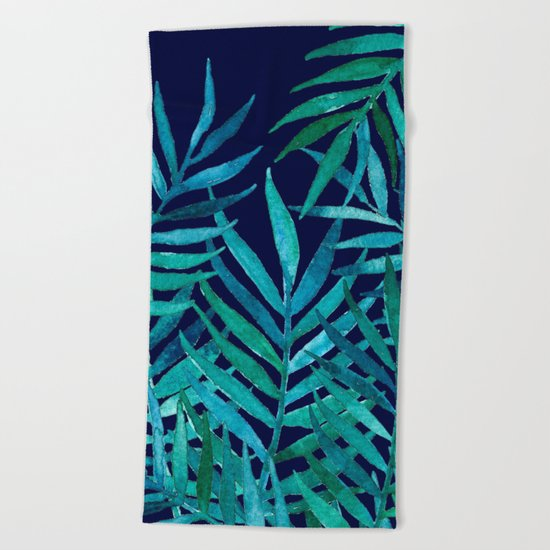 Watercolor Palm Leaves on Navy Beach Towel