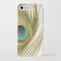 peacock feather iPhone & iPod Cases featuring Peacock Feather by Kimberly Blok